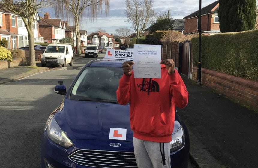 Congratulations to Ramone Williams for passing his driving test in sale on 29/03/2018